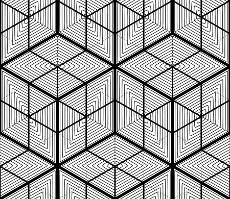 splice: Black and white illusive abstract geometric seamless 3d pattern. Vector stylized infinite backdrop, best for graphic and web design.