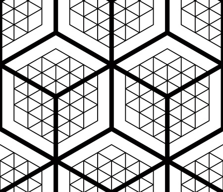 splice: Graphic seamless abstract pattern, regular geometric black and white 3d background. Contrast ornament.