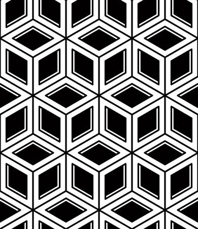imposing: Seamless ottica ornamentale con figure geometriche tridimensionali. Si intrecciano composizione in bianco e nero.