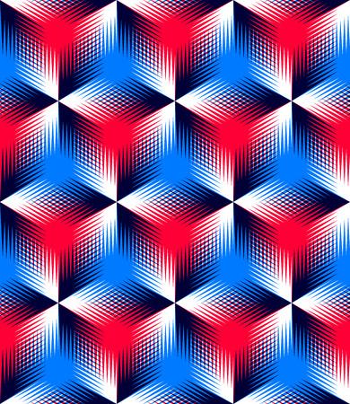 illusory: Abstracto coloreado entrelazan sin fisuras patr�n geom�trico,. Tel�n de fondo ilusorio brillante con formas se entrelazan tridimensionales. Cubierta contempor�nea Gr�fico. Vectores