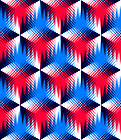interweave: Colored abstract interweave geometric seamless pattern, . Bright illusory backdrop with three-dimensional intertwine figures. Graphic contemporary covering.