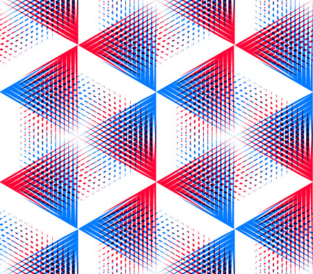 Seamless optical ornamental pattern with three-dimensional geometric figures. Intertwine colored composition.