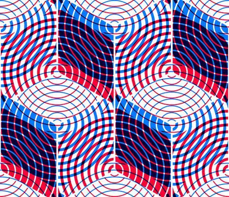 illusory: Abstracto coloreado entrelazan sin fisuras patr�n geom�trico, EPS10. Tel�n de fondo ilusorio brillante con formas se entrelazan tridimensionales. Cubierta contempor�nea Gr�fico.