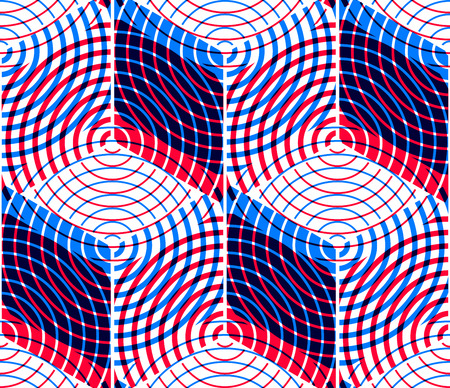 intertwine: Colored abstract interweave geometric seamless pattern, EPS10. Bright illusory backdrop with three-dimensional intertwine figures. Graphic contemporary covering.