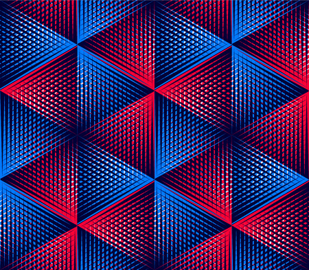 intertwine: Regular colorful endless pattern with intertwine three-dimensional figures, continuous illusory geometric background, clear