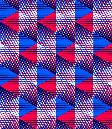 Seamless optical ornamental pattern with three-dimensional geometric figures. Intertwine colored EPS10 composition. Illustration
