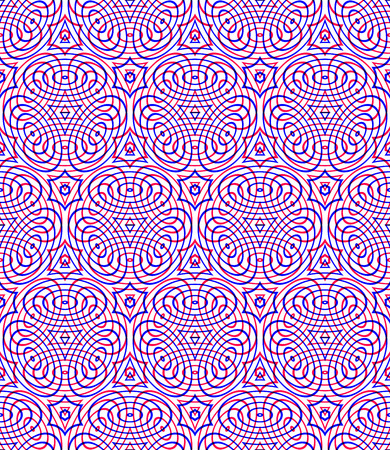 intertwine: Endless colorful symmetric pattern, graphic design. Geometric intertwine optical composition, clear