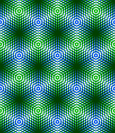 splice: Graphic seamless abstract pattern, regular geometric colorful 3d background. Contrast ornament, transparent backdrop. Illustration