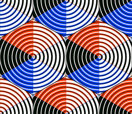 entwine: Seamless ottica ornamentale con figure geometriche tridimensionali. Si intrecciano composizione colorata.