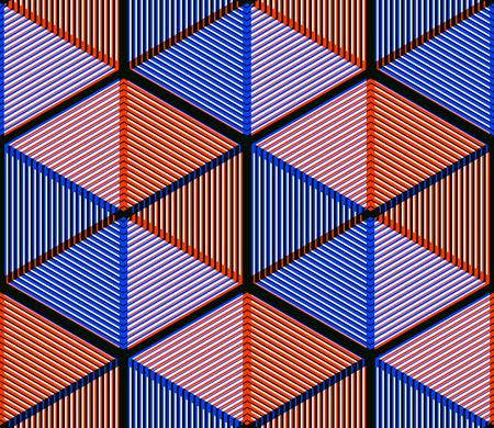 illusory: Abstracto coloreado entrelazan sin fisuras patr�n geom�trico. Tel�n de fondo ilusorio brillante con formas se entrelazan tridimensionales. Cubierta contempor�nea Gr�fico.