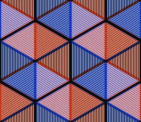 intertwine: Colored abstract interweave geometric seamless pattern. Bright illusory backdrop with three-dimensional intertwine figures. Graphic contemporary covering.