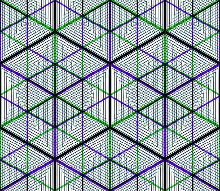 interweave: Colored abstract interweave geometric seamless pattern. Bright illusory backdrop with three-dimensional intertwine figures. Graphic contemporary covering.