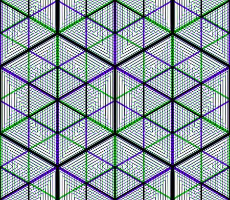 entwine: Colored intreccio astratto geometrico seamless. Luminoso sfondo illusoria con figure si intrecciano tridimensionali. Graphic copertura contemporanea.