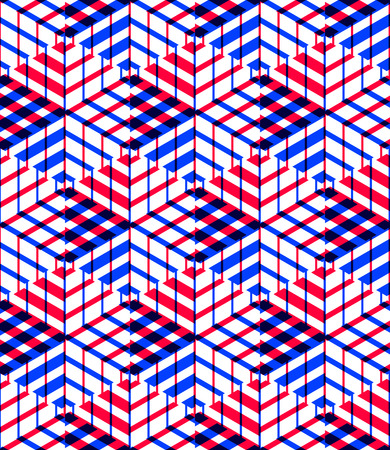 splice: Bright symmetric seamless pattern with interweave figures. Continuous geometric composition with transparency effects, for use in graphic design.