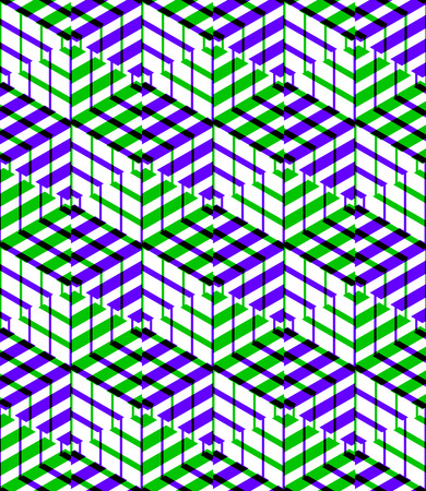 Bright symmetric seamless pattern with interweave figures. Continuous geometric composition with transparency effects, for use in graphic design.