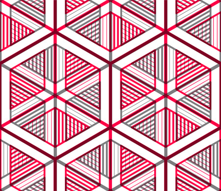 splice: Seamless optical ornamental pattern with three-dimensional geometric figures. Intertwine colored composition.
