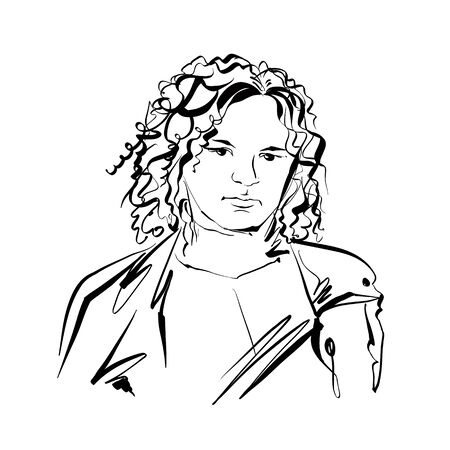 black woman: Black and white hand drawn illustration of a woman, sad girl with curly hair.