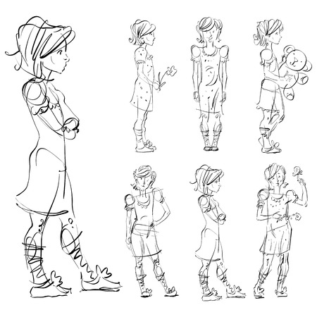 adolescent: Set of vector full-length hand-drawn Caucasian teens, black and white front and side view sketch of girls with a flower, teddy bear and a butterfly, monochrome illustration of standing adolescent with hand crossed on chest.