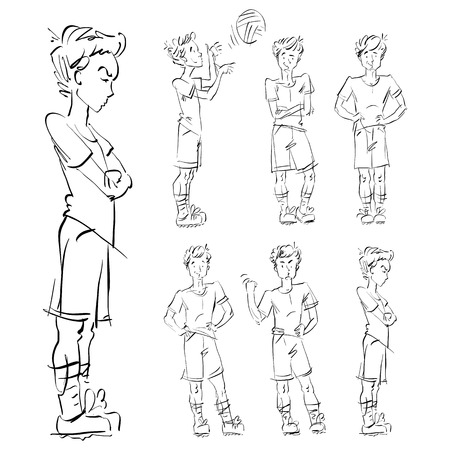 adolescent: Set of vector full-length hand-drawn Caucasian teens, black and white front and side view sketch of an angry youngster threatening the fist, monochrome illustration of standing adolescent with hand crossed on chest, akimbo.