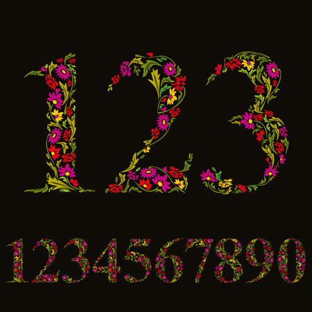 numerals: Beautiful floral numbers set, vector numerals.