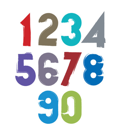 numeration: Calligraphic brush numbers, hand-painted bright vector numeration.