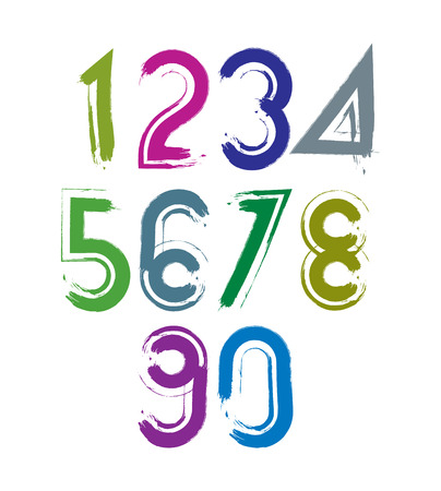 Calligraphic brush numbers with white outline, hand-painted bright vector numeration. Vector