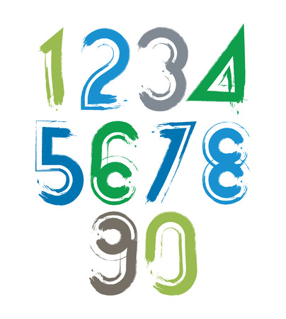 Handwritten vector numbers isolated on white background, painted modern numbers set with white outline. Vector
