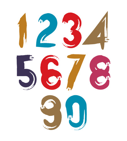 serif: Vector stylish brush digits, handwritten numerals, sans serif numbers set on white background. Illustration