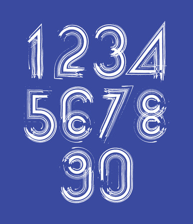 Calligraphic numbers drawn with ink brush, white striped vector numbers collection. Vector