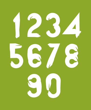 two stroke: Handwritten white vector numbers on green backdrop, stylish numbers set drawn with ink brush. Illustration