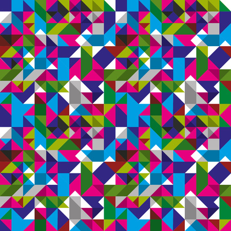 Bright seamless pattern with geometric figures, colorful mosaic textile, multicolored abstract vector book cover with squares and rectangles. Vector