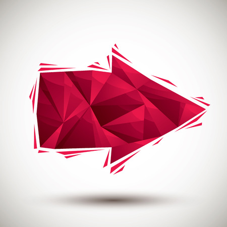 Red arrow geometric icon made in 3d modern style, best for use as symbol or design element. Vector