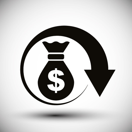 interest rates: Money bag with arrow cash money vector simple single color icon.