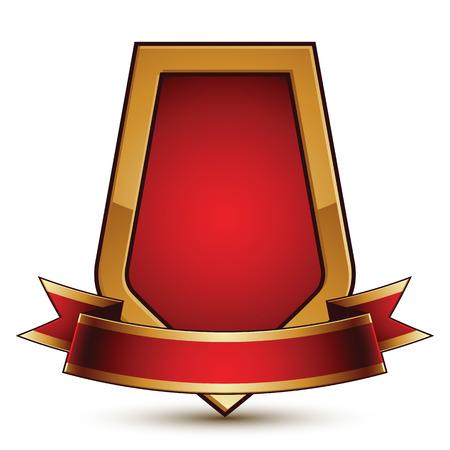 glorioso: Ouro vector s�mbolo de prote��o estilizado com vermelho glamourosa ondulado banda, claro insignia, isolado no fundo branco. Escudo simb�lico, melhor para uso em web e design gr�fico. Objeto glorioso com fita cheio de curvas.
