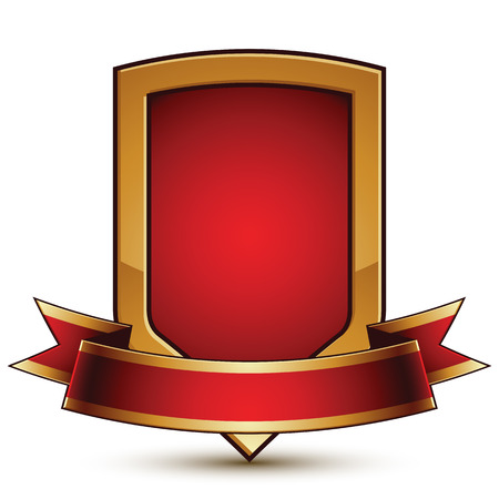 glorious: Golden vector stylized protection symbol with red glamorous wavy band, Clear  insignia, isolated on white background. Symbolic shield, best for use in web and graphic design. Glorious object with curvy ribbon.