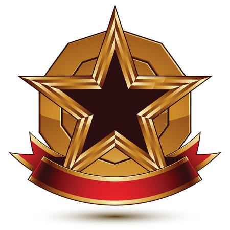glorioso: Ouro vector simbolo rodada com preto estrela pentagonal glamourosa, Clear insignia, isolado no fundo branco. Melhor para uso em web e design gr Ilustra��o
