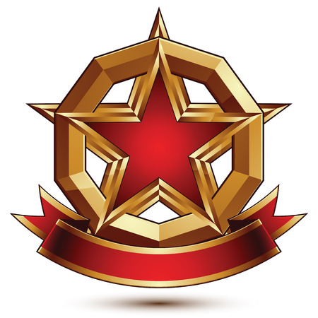 glorious: Golden vector stylized round symbol with red glamorous pentagonal star, Clear  insignia, isolated on white background. Best for use in web and graphic design. Glorious object with red curvy ribbon.