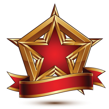 glorious: Golden vector stylized symbol with red star and glamorous wavy band, Clear  insignia, isolated on white background. Symbolic template, best for use in web and graphic design. Glorious object with curvy ribbon.