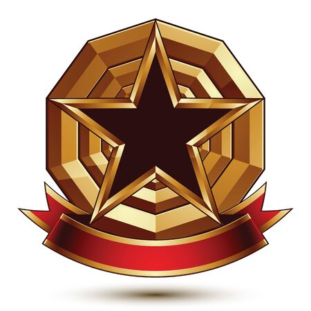 glorious: Golden vector stylized round symbol with black glamorous pentagonal star, Clear  insignia, isolated on white background. Best for use in web and graphic design. Glorious object with red curvy ribbon. Illustration