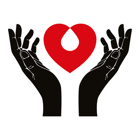 holding hand: Hand with heart and blood drop vector symbol. Illustration
