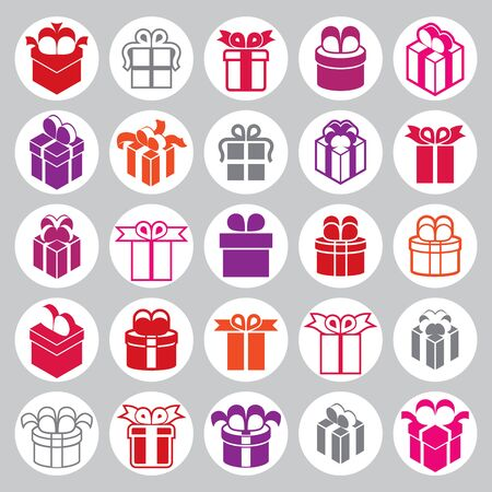 simplistic: Gift boxes icons vector set, surprise simplistic symbols vector collections. Illustration