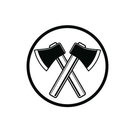 woodcutter: Two sharp axes crossed. Woodcutter tool, simple hatchet symbol isolated on white. Lumberjack instrument icon, can be used in advertising and design. Illustration