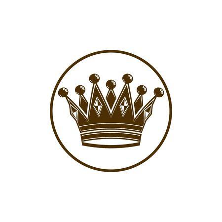vip symbol: Corona de la vendimia 3d, ilustraci�n corona de lujo. S�mbolo imperial y VIP cl�sico, para el uso en la publicidad y el dise�o. Vectores