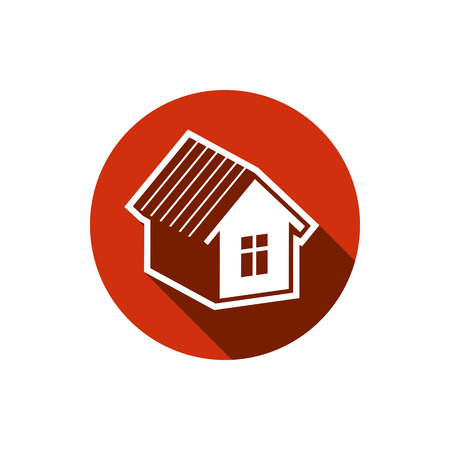 estate planning: Simple house detailed illustration. Property developer conceptual icon, real estate emblem.  Building modeling and engineering projects abstract symbol.