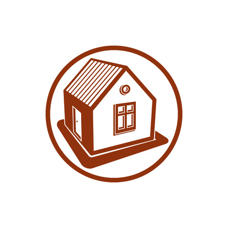 advertising agency: Home symbol, estate agency emblem, can be used in advertising and web design. Property simple icon isolated on white.