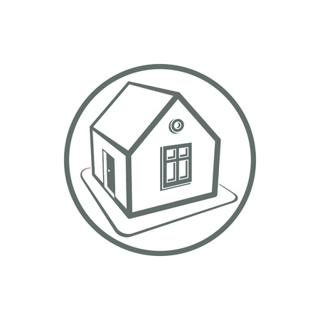Home symbol, estate agency emblem, can be used in advertising and web design. Property simple icon isolated on white.