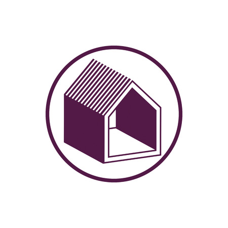 depiction: Real estate icon, abstract house depiction. Property developer symbol, conceptual sign, best for use in advertising and as corporate brand for building company.