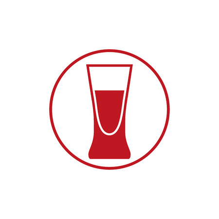 bocal: Alcohol beverage theme icon, blend or cocktail glass placed in circle. Colorful bar and cafes brand emblem. Illustration