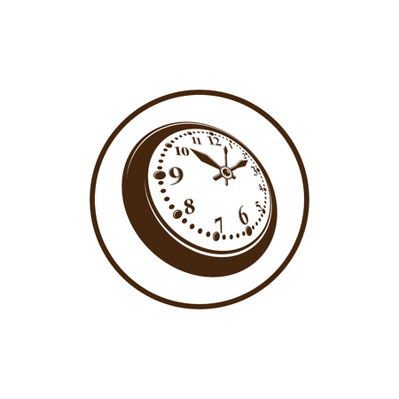 Old-fashioned pocket watch, graphic illustration. Simple timer, classic stopwatch. Time management symbolic icon.