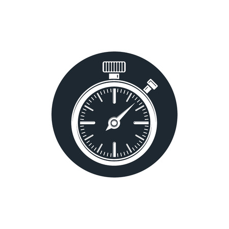 interim: Old-fashioned pocket watch, graphic illustration. Simple timer, classic stopwatch. Time management symbolic icon.